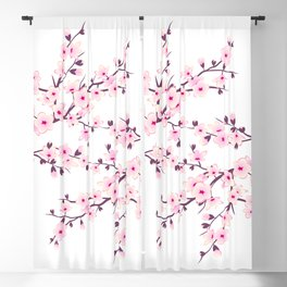 Cherry Blossom Pink White Blackout Curtain