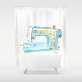 Vintage Fleetwood Sewing Machine Shower Curtain