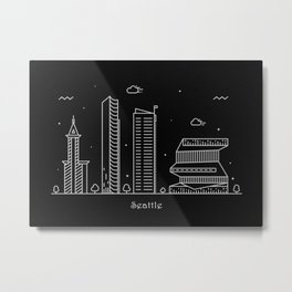 Seattle Minimal Nightscape / Skyline Drawing Metal Print