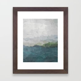 Gray Clouds Green Land Aqua Teal Water Ocean Waves Abstract Nature Painting Art Print Wall Decor  Framed Art Print