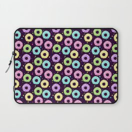 delicious donuts with multi-colored icing on a dark background. cartoon donuts Laptop Sleeve