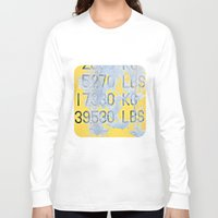 numbers Long Sleeve T-shirts featuring Big Numbers  by Ethna Gillespie