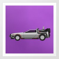 Back to the Future DeLorean 1 Art Print