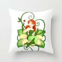 poison ivy Throw Pillows featuring Poison Ivy  by Katie Simpson a.k.a. Redhead-K