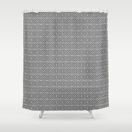 Black and White Greek Key Repeating Square Pattern Shower Curtain