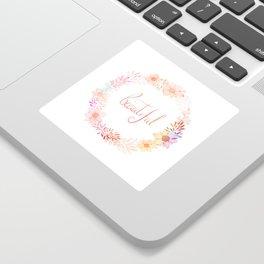 Beautiful lettering floral wreath Sticker