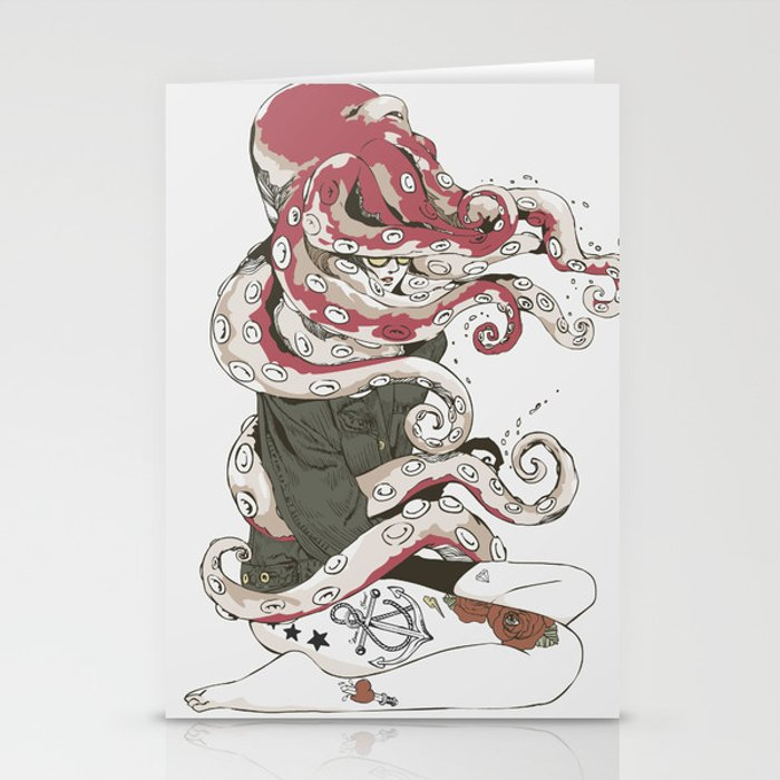 My head is an octopus Stationery Cards