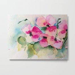 Watercolor Pink Flowers In The Vase Metal Print
