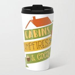 Cabins, Campfires, & Cocoa Camping Vacation T-Shirt Travel Mug