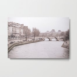Paris Bridges in Winter Metal Print