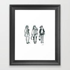 Brush Pen Fashion Illustration - East Coast Girls Framed Art Print
