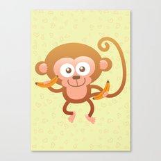 Lovely Baby Monkey Eating Bananas Canvas Print