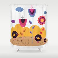 spring Shower Curtains featuring Spring by Kakel