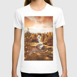 aerial view of a cabin in vermont T-shirt