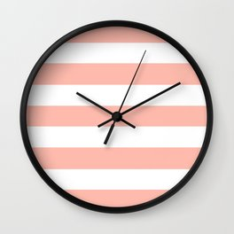 Melon - solid color - white stripes pattern Wall Clock
