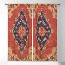 Southwest Tuscan Shapes II // 18th Century Aged Dark Blue Redish Yellow Colorful Ornate Rug Pattern Blackout Curtain