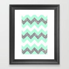 seafoam glitter chevron Framed Art Print