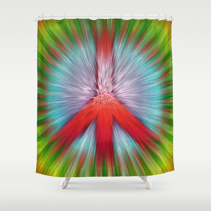 Starburst Peace Sign Shower Curtain
