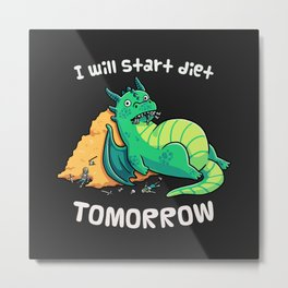 Diet Procrastination Dragon // Fantasy, Chubby, Roleplay Metal Print