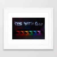 gorillaz Framed Art Prints featuring Kids With Guns by John Andrews Design