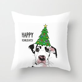 Happy Howlidays Great Dane Throw Pillow
