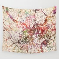pittsburgh Wall Tapestries featuring Pittsburgh by MapMapMaps.Watercolors