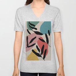 colorful palm pattern Unisex V-Neck