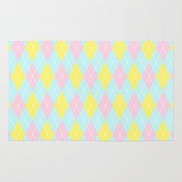 Blue Pink Yellow Pastel Argyle Pattern Rug