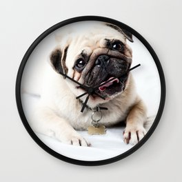 pug portrait Wall Clock