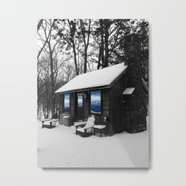Snowy Cabin In The Woods Metal Print
