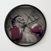 boxing Wall Clocks featuring boxing by aaron ebanks
