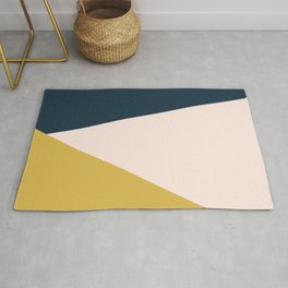 Jag 2. Minimalist Angled Color Block in Navy Blue, Blush Pink, and Mustard Yellow Rug
