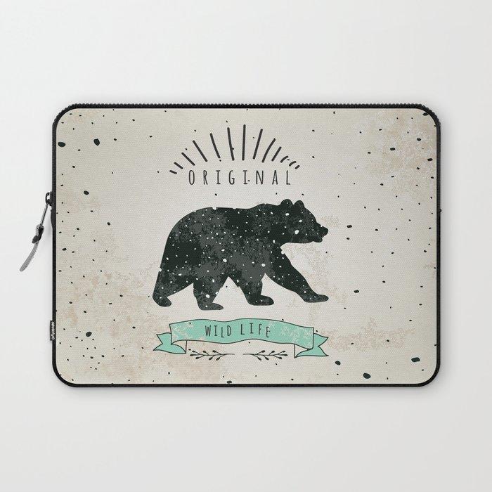 Vintage Label Bear Design For T Shirt Nandmade Illustration Sketch Bear Laptop Sleeve By Krisart1 Society6