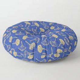 Ginkgo Biloba linocut pattern GLITTER GOLD DEEP BLUE Floor Pillow