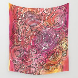 Red Bubbles Wall Tapestry
