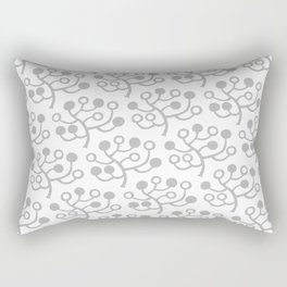 Mid Century Modern Berries Pattern Grey Rectangular Pillow