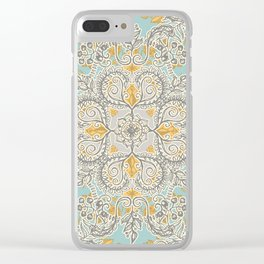 Gypsy Floral in Soft Neutrals, Grey & Yellow on Sage Clear iPhone Case