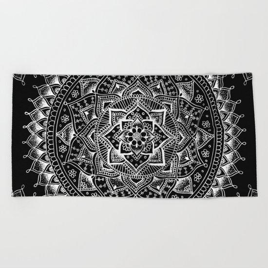 White Flower Mandala on Black Beach Towel