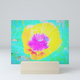 Yellow Poppy with Hot Pink Center on Turquoise Blue Mini Art Print