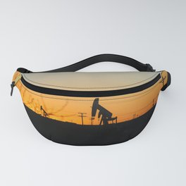 Oil Rig At Sunset Fanny Pack