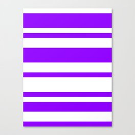Mixed Horizontal Stripes - White and Violet Canvas Print
