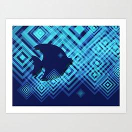 Blue Fish Angel Anglers Angles Art Print