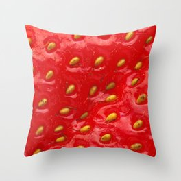 Strawberry Closeup Throw Pillow