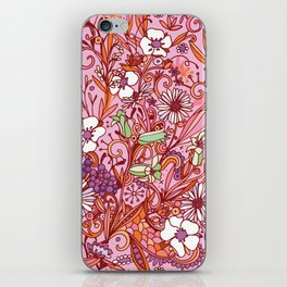 Daisy and Bellflower pattern, pink iPhone Skin