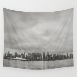 Vancouver Raincity Series - Raincity i - Moody Downtown Vancouver Cityscape Wall Tapestry