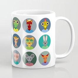Chinese zodiac collection, Set of animals faces circle icons in Trendy Flat Style Coffee Mug