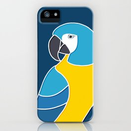 Blue and Yellow Parrot on Dark Blue iPhone Case