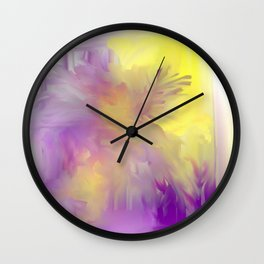 Purple and Yellow Floral Abstract Wall Clock