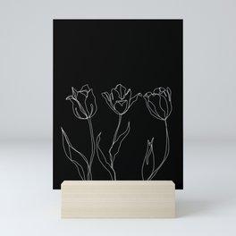 Floral line drawing - Three Tulips Black Mini Art Print