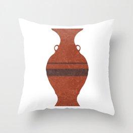 Minimal Abstract Greek Vase 11 - Hydria - Terracotta Series - Modern, Contemporary Print - Brown Throw Pillow
